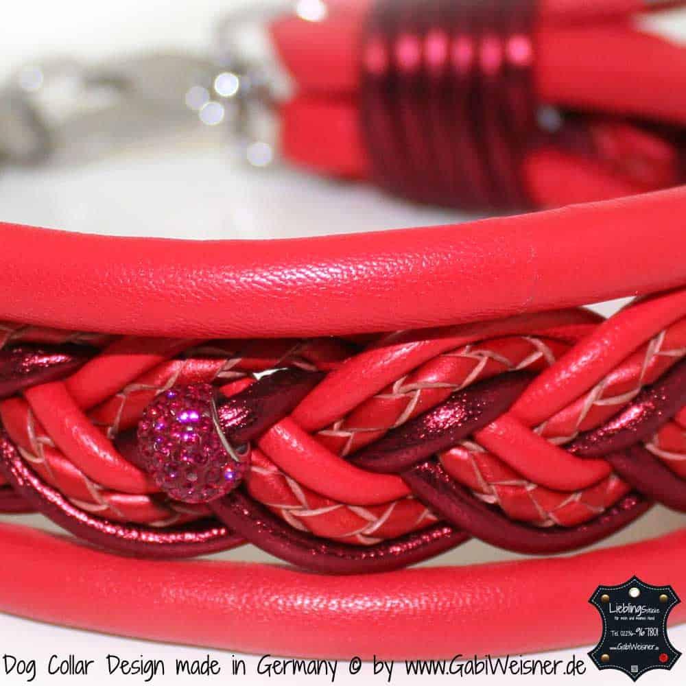 Hundehalsband-Ledermix-Rot-5-cm-breit