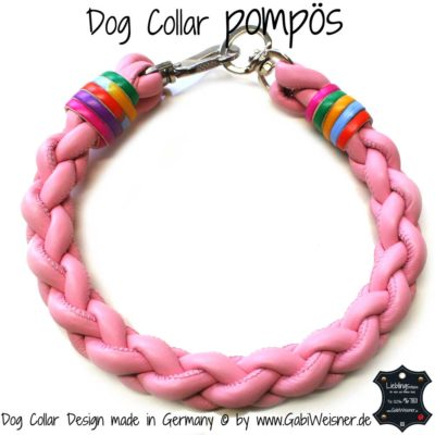 Dog Collar pompoes Hippie rosa