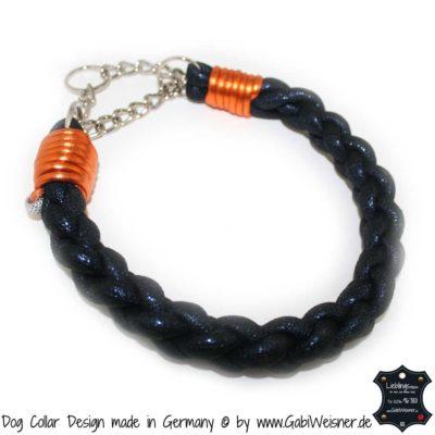 Dog Collar pompoes BLAU ORANGE GLITZER