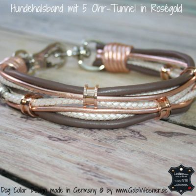 Hundehalsband mit 5 Ohr-Tunnel in Roségold