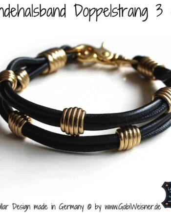 Hundehalsband Leder 3 cm Schwarz Gold