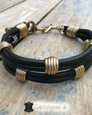 Hundehalsband-Leder-3-cm-Schwarz-Gold
