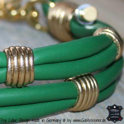 Hundehalsband Leder 4 cm Grün Gold