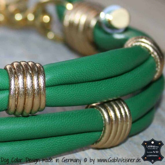 Hundehalsband Leder 4 cm breit Grün