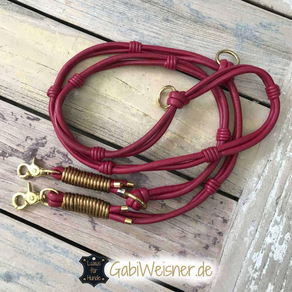 hundeleine-leder-dunkelrot-gold