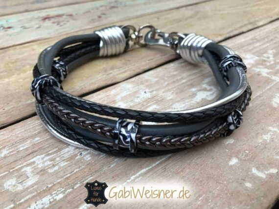 Hundehalsband Leder Ohr-Tunnel Zebra - Look