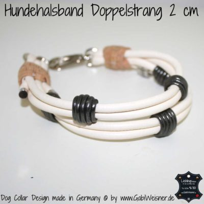 Mini-Halsband Leder 2 cm Elfenbein
