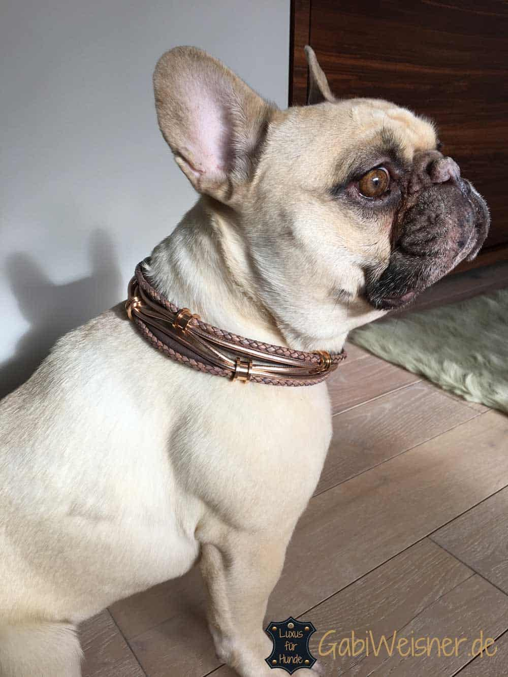 Hundehalsband mit Ohrtunnel in Rosegold