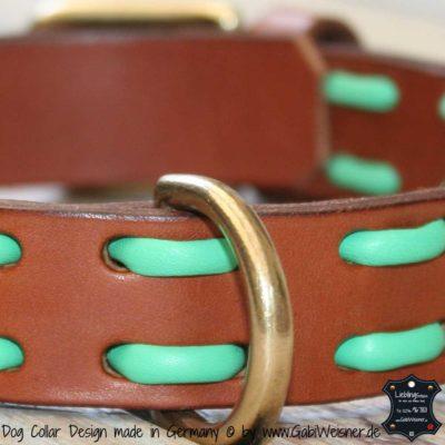 Hundehalsband-Leder Steppmuster bunt