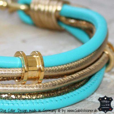 Mini-Halsband mit Ohr-Tunnel Tuerkis-Gold
