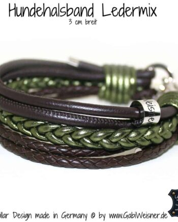 Hundehalsband Leder 3 cm Braun Olive