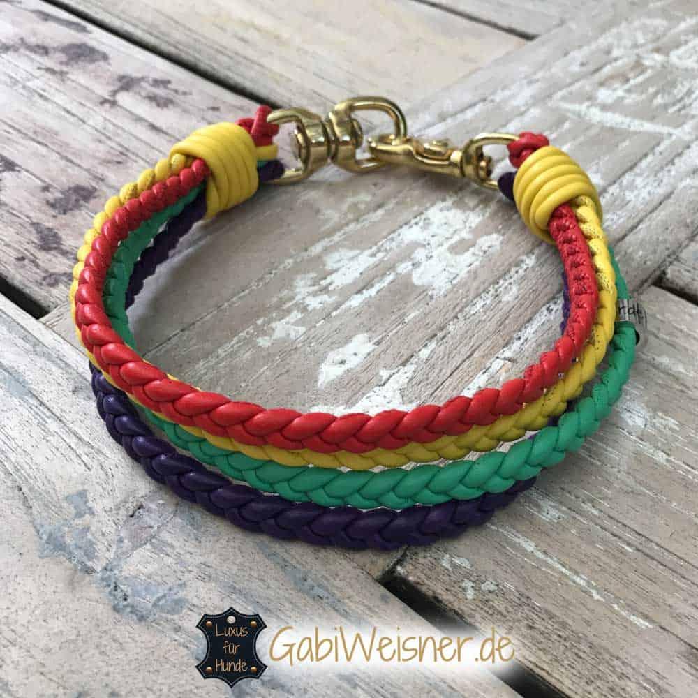 Regenbogen Halsband 4 cm breit geflochten