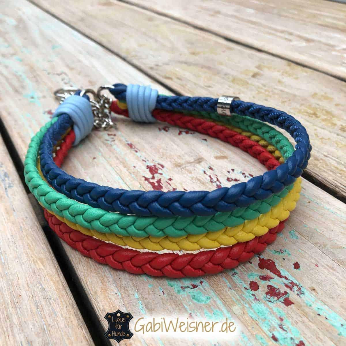 Regenbogen Halsband 4 cm breit mit 5 Farben geflochten