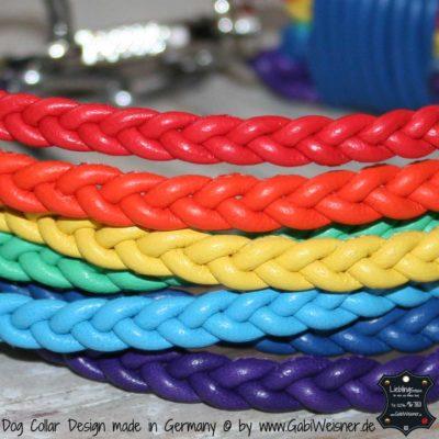 Regenbogen Halsband gute 3 cm breit geflochten