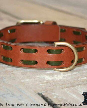 Hundehalsband Leder und Lack-Baender
