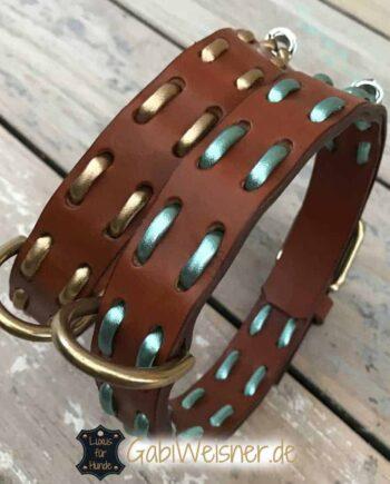 Hundehalsband Leder Metallic