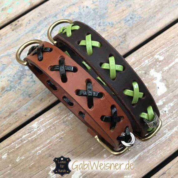 Hundehalsband Leder und Lack mit Kreuz