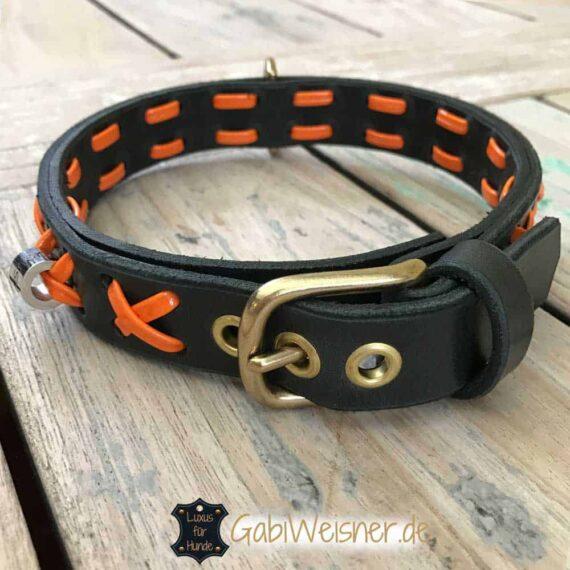 Hundehalsband-Leder-und-Lack-orange