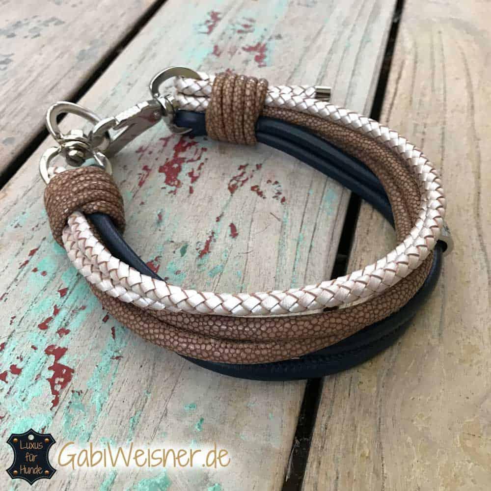 Hundehalsband 6 Reihen Ledermix