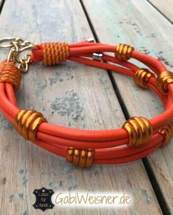 Hundehalsband Leder Orange