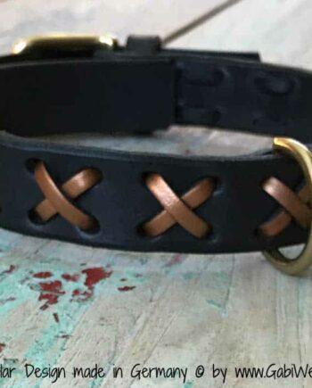 Hundehalsband Leder Kreuze