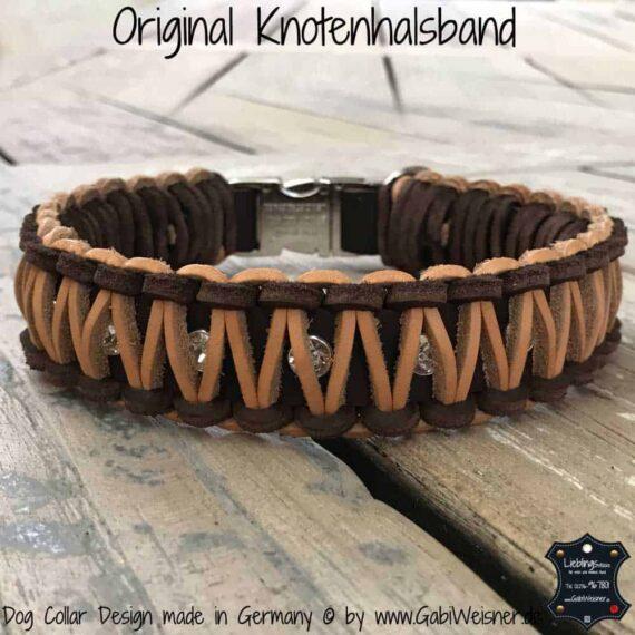 Lederhalsband mit 2 Farben und Swarovski-Reihe