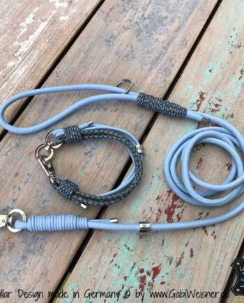 Mini Halsband und Leine in Babyblau