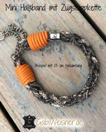 Mini Halsband Zugstopp Schlangenleder-Prägung