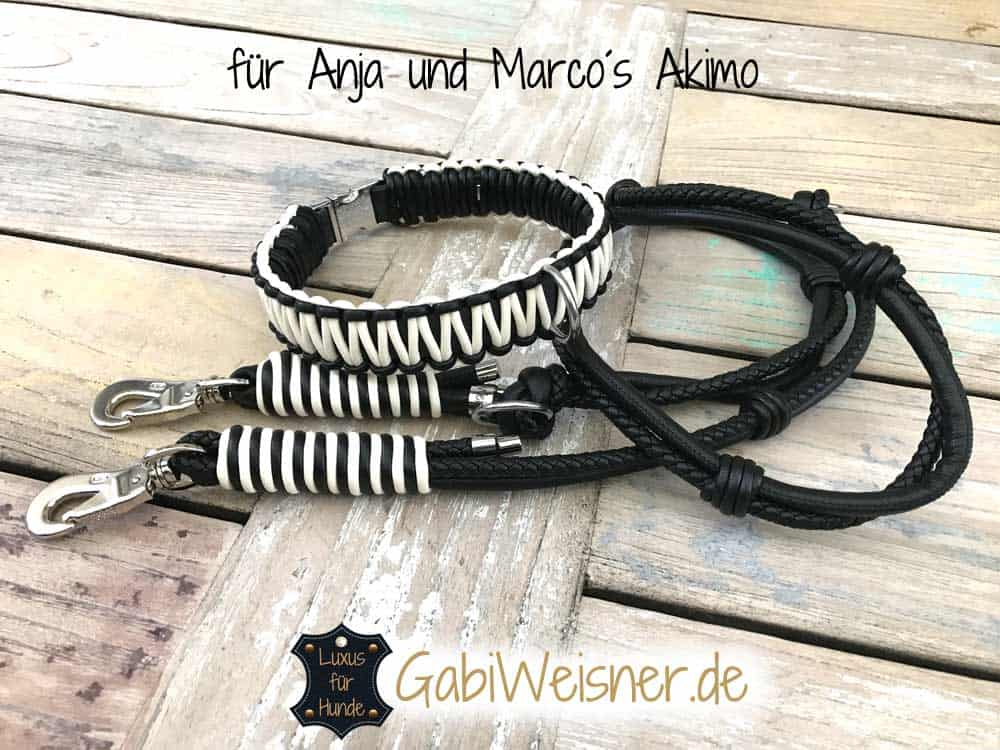 Luxus Halsband und Leine im Leder Mix