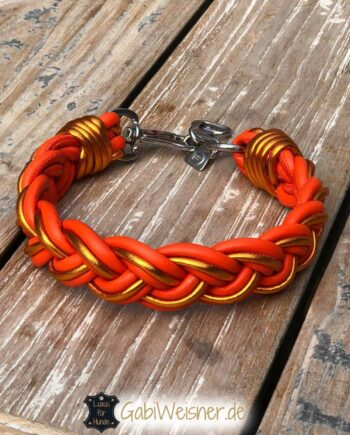 Hundehalsband breit geflochten leder in Orange