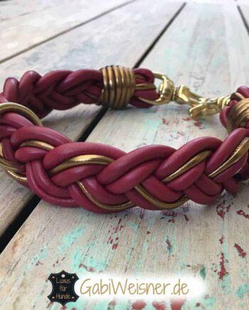 Hundehalsband geflochten Leder in Dunkelrot und Gold