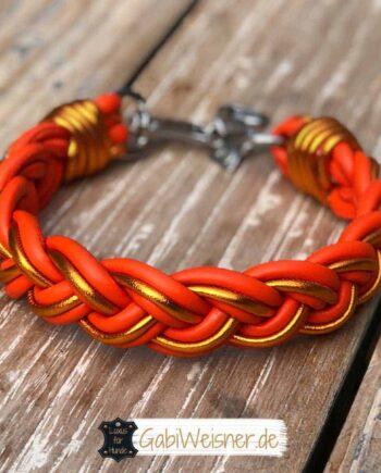 Hundehalsband geflochten Leder Orange