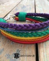 Hundehalsband-Regenbogen-Leder-Mix