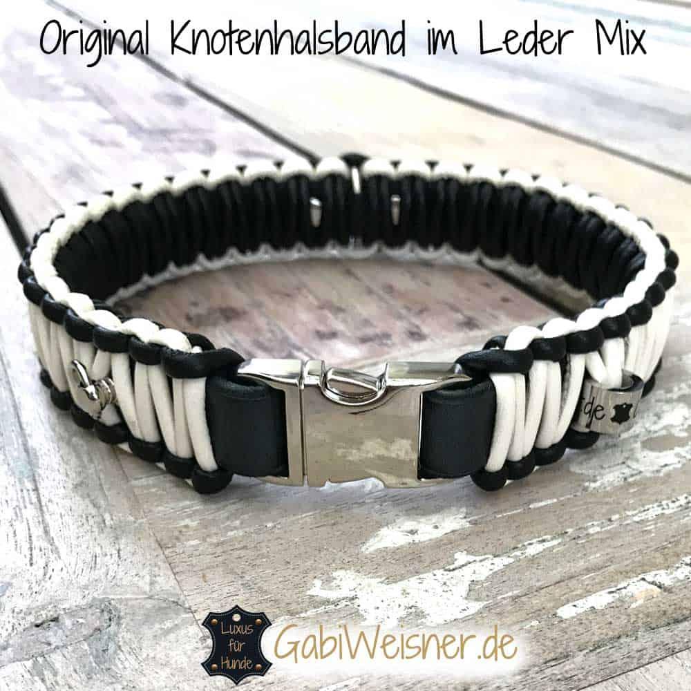 Knotenhalsband Leder Mix in Schwarz - Elfenbein