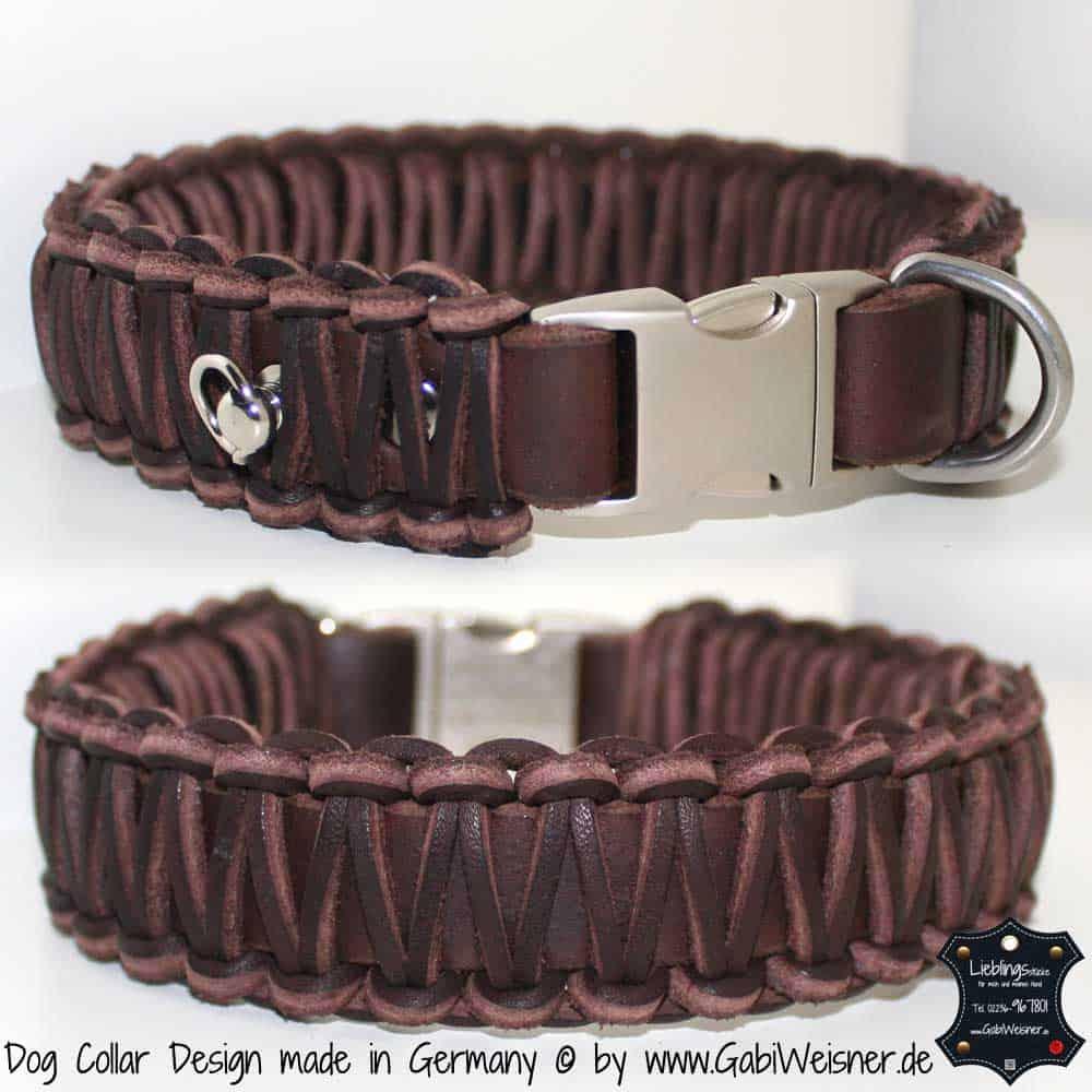 lederhalsband braun geflochten 3 cm breit 1 hundehalsband leder luxus f r hunde. Black Bedroom Furniture Sets. Home Design Ideas