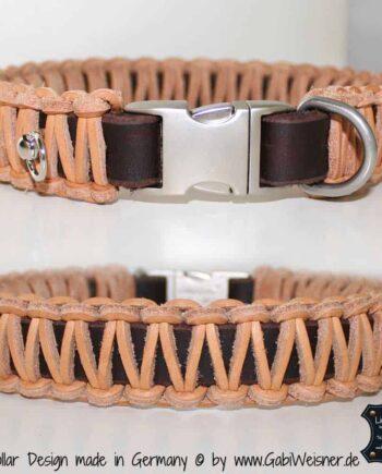 Lederhalsband Braun-Natur geflochten 3 cm breit