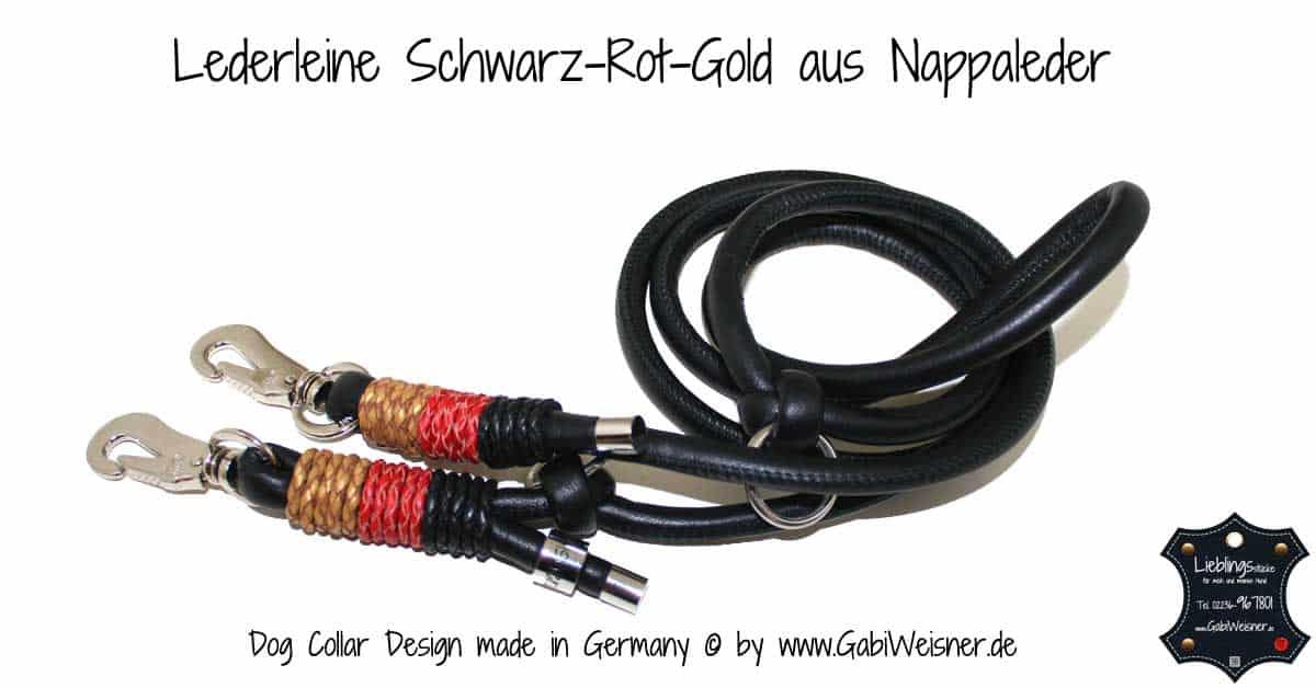 Lederleine Schwarz-Rot-Gold aus Nappaleder