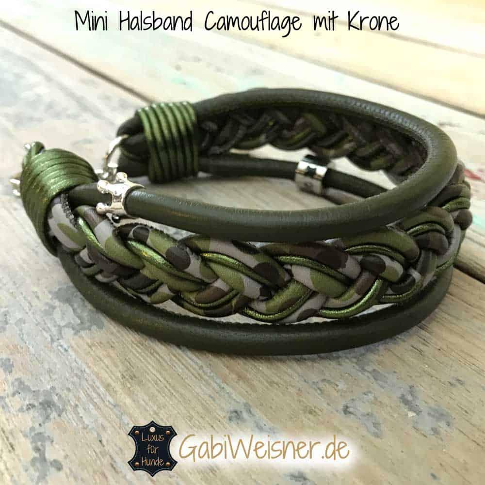 Luxus Hundehalsband Leder mit Krone