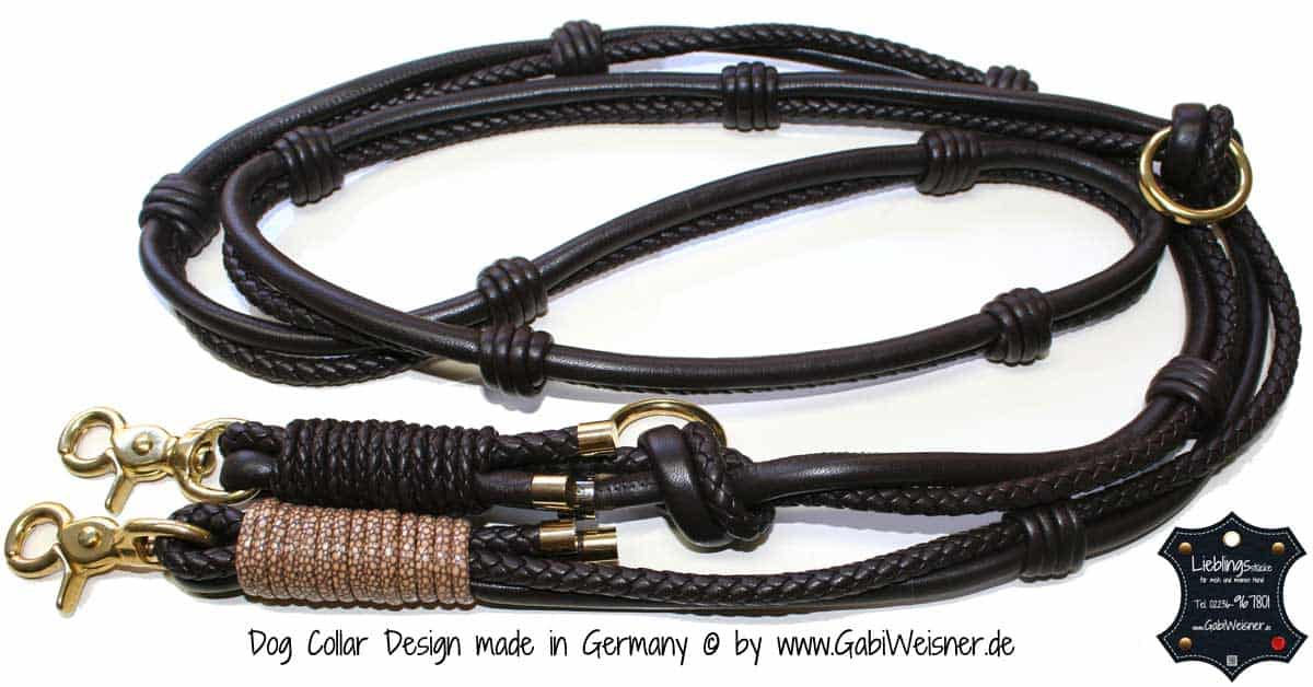 Luxus hundeleine leder rund exklusiv in braun for Luxus wohnlandschaft leder