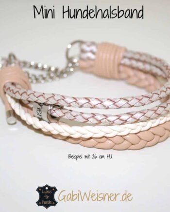 Mini Halsband Leder Beige
