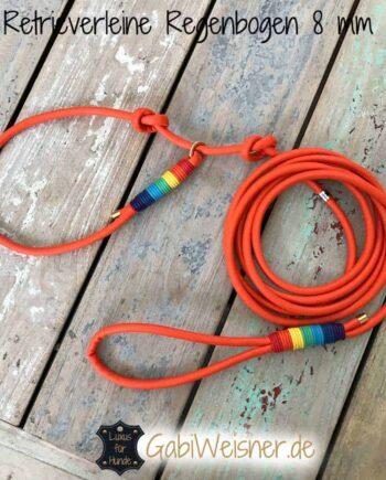 Luxus Retrieverleine Leder 8 mm rund im Regenbogen Look