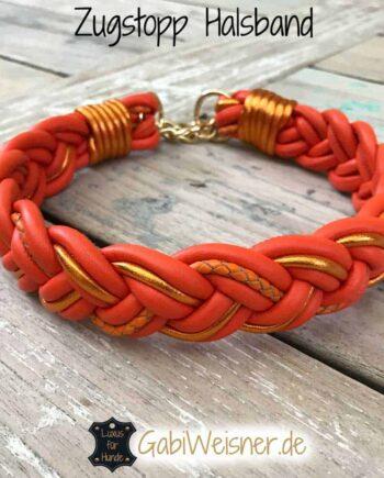 Zugstopp Hundehalsband geflochten Leder Orange