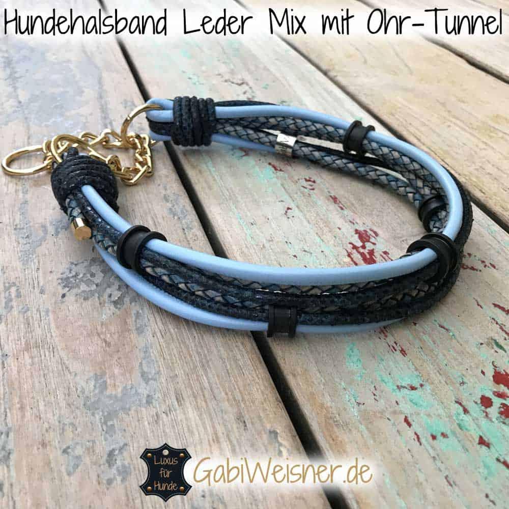 Hundehalsband Leder Mix mit 5 Ohr-Tunnel