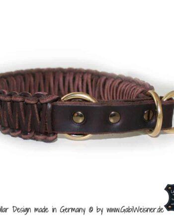 Hundehalsband Leder Zugstopp 3 cm breit, Massiv Messing