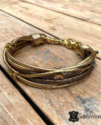 Luxus Mini-Halsband Goldstück Leder, 3 Ohr-Tunnel vergoldet