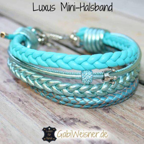 Luxus Mini-Halsband Leder mit Strass und Krone in Tuerkis