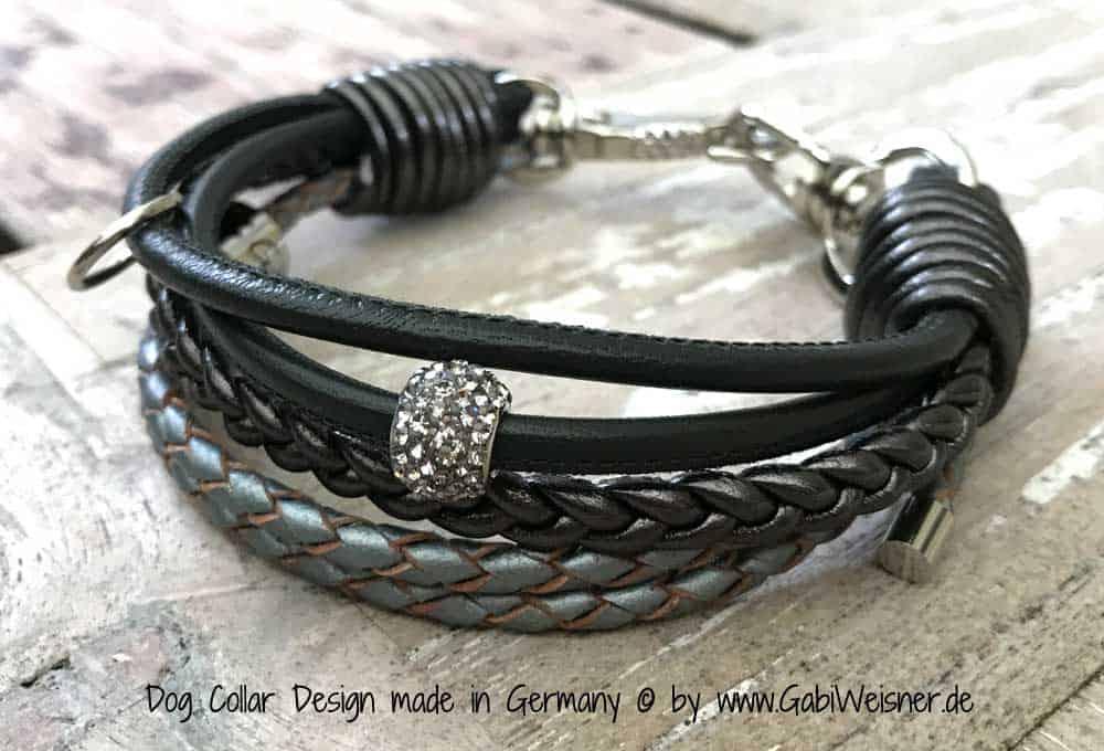 Mini Hundehalsband Strass Leder Carbon Stahl