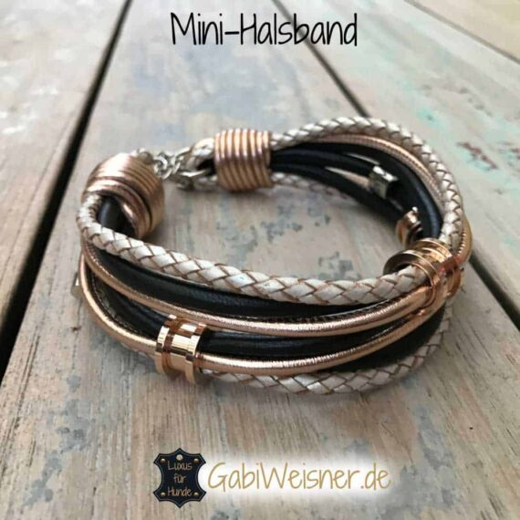 Mini-Halsband Leder, 3 Ohr-Tunnel in Rosegold