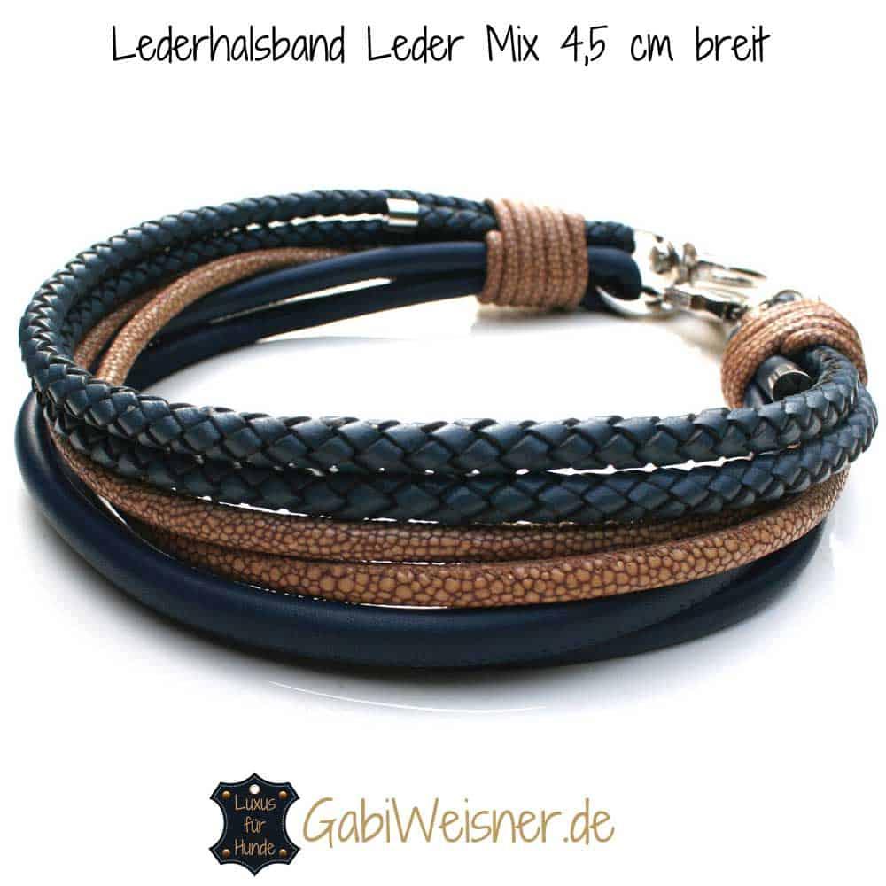 Luxus Hundehalsband Leder Blau