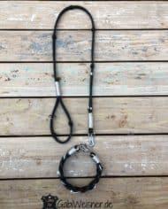Hundehalsband-Leder-geflochten-leine-Schwarz-Silber-Strass-SET-2